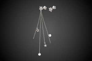 N°1 Silver Earrings Stars & Crystals