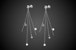 N°2 Silver Earrings Stars & Crystals