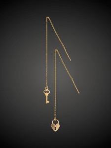Gold Earrings Lock and Key