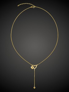 Gold Necklace Double Heart
