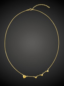 Gold Necklace 4 Hearts